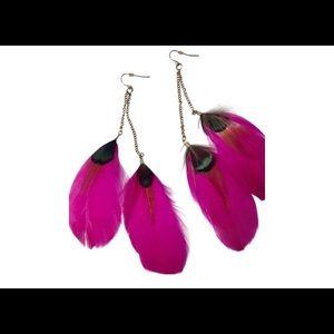 Women's Pink Feather Drop Earrings